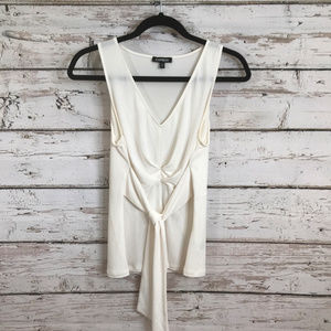 Express White Sleeveless Front Tie Top.